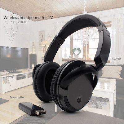 Wireless Headset for TV PC Computer MP3 TV Over Ear Headset Support FM Function With USB Transmitter