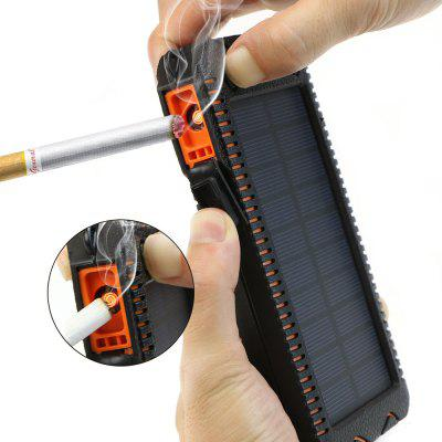 X-DRAGON Solar Power Bank Dual USB Built-in Cigarette Lighter and Flashlight External Battery Charger