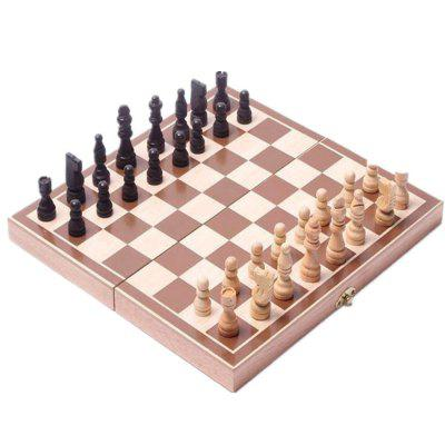 Folding Wooden International Chess Set Funny Game Chessmen Collection Portable Board Game
