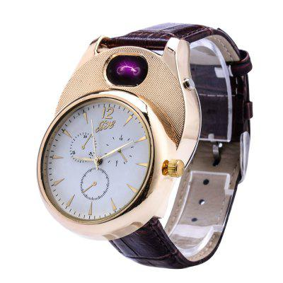Cigarette Lighter watch Men USB Casual  Fashion Arc Flameless Lighter Wristwatches Clock Gift