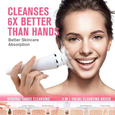 Electric Rotary Facial Cleansing Brush Spa 4-in-1 Kit with Massage Rolling Head Water-Proof