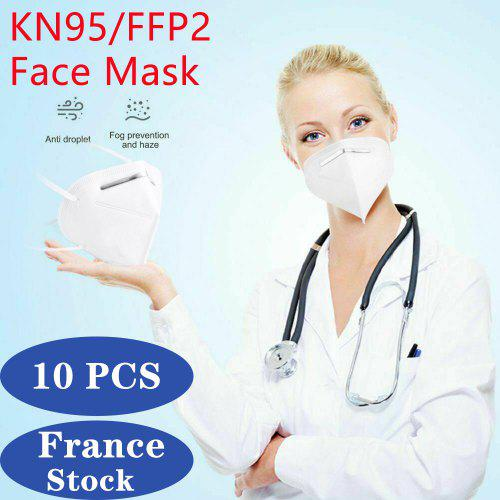 10 PCS N95 FFP2 Face Mask 5-Layer Respirator for Dust Pollution Protection Anti Pollen Allergy