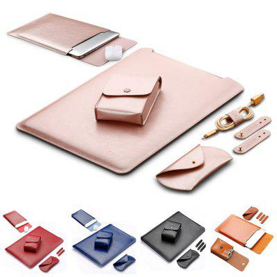 Leather Sleeve Case for MacBook Air Pro Laptop Bag with Mouse Pad 11.6 12 13.3 15.4 inch