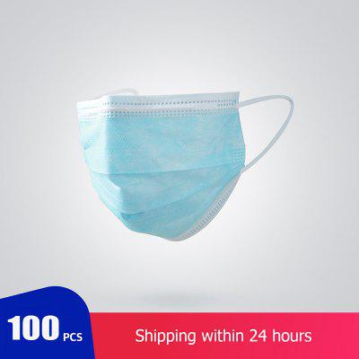 100 pcs 1 Bag 3 Layer Non-woven Dust Mask Thickened Disposable Mouth Mask Features as KF94 FFP2