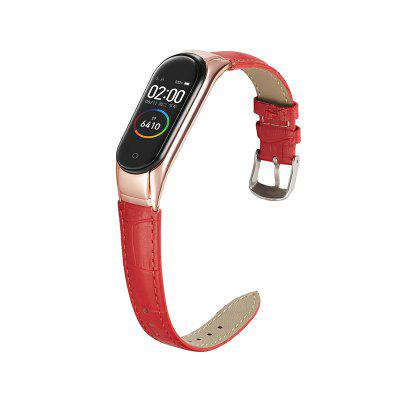 Crocodile print Leather Replaceable Bracelet For Xiaomi Mi Band 4 Strap Sport Wristband Mi band 3 Smart Watch Strap With Metal Protection Frame