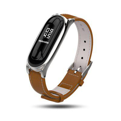 Mi band 4 3 Metal Strap Leather Bracelet for Xiaomi Mi Band 3 4 Mi Band  bracelet Wrist band smart Band With Metal Frame