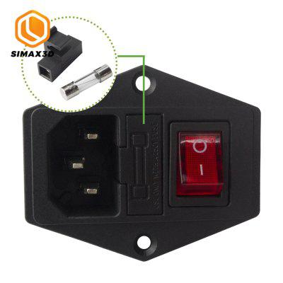 SIMAX3D15A 250V Power switch AC 3pin AC power socket with red triple Switch with fuse