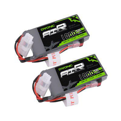 Ovonic 1000mAh 2S 7.4V 50C Lipo Battery Pack with JST Plug for RC Car Truck Truggy RC Hobby 2 Packs
