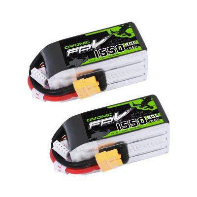 Ovonic 14.8V 1550mAh 4S 80C LiPo Battery Pack With XT60 Plug 2pcs