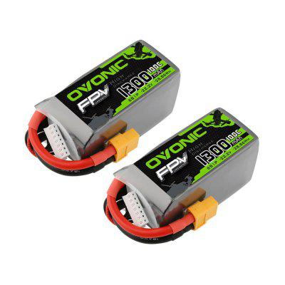 OVONIC 2 Pack 22.2V 1300mAh 6S 100C XT60 Connector lipo Battery for FPV Racing RC Quadcopter Helicopter Airplane Multi-Motor Hobby DIY