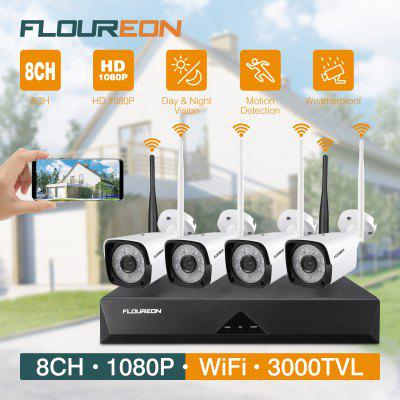 FLOUREON 1080P Wireless CCTV Home Security Camera System 8CH NVR Recorder Kit 4X IP Cameras Night Vision