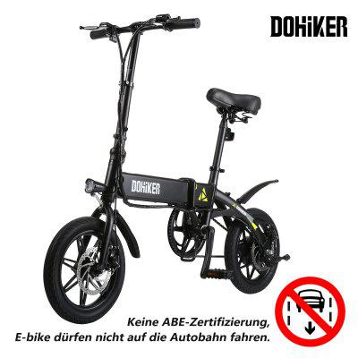 DOHIKER Folding Electric Bicycle Bike 14 Inch E-bike 5 Speed levels 250W 7.5AH Battery Max 25km/h Image