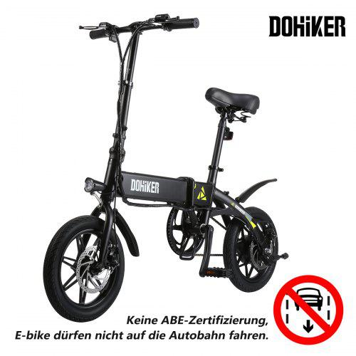 DOHIKER Folding Electric Bicycle Bike 14 Inch E-bike 5 Speed levels 250W 7.5AH Battery Max 25km/h