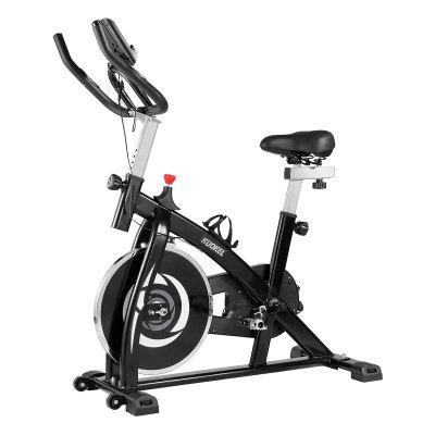 KUOKEL Exercise Bike Belt Drive Indoor Cycling Bike with 13lbs Flywheel Adjustable Handlebar and Seat LCD Monitor Phone/Tablet Holder for Home Workout Image