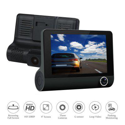 3 Lens Car Dash Camera 4inch Display HD 1080P DVR Video Recorder 170 Degree Wide Angle