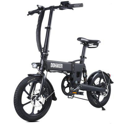 DOHIKER Folding Electric Bicycle 250W Collapsible Commuter Bike with 16 Wheels 36V 7.5Ah Rechargeable Lithium-ion Battery 6-Speed Gear