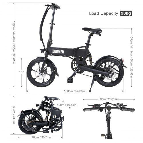 DOHIKER Folding Electric Bicycle 250W Collapsible Electric Commuter Bike with 16 Wheels 36V 7.5Ah Rechargeable Lithium-ion Battery 6-Speed Gear