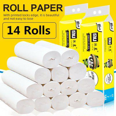 14 Rolls Toilet Paper Roll Paper Hand Paper 4-Layers Skin-friendly Paper Household Kitchen Tissue