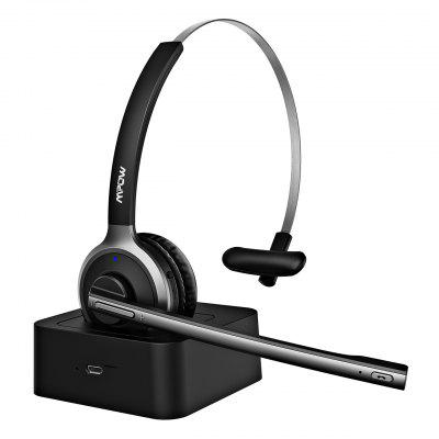 Mpow M5 Pro Bluetooth Headphone Wireless Headset With Noise-Suppressing Mic Charging Dock For PC