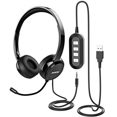 Mpow PA071 USB Wired Headphones 3.5mm Over-Ear Headset With Mic Noise Reduction For PC Skype Office