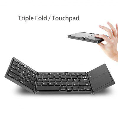 Three Fold Wireless Bluetooth Keyboard For Tablet With Touch Pad