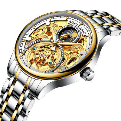 Aokulasic 1923 Mechanical Watch with Stainless Steel Strap Skeleton for Man