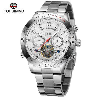 FORSINING TM332G Business Casual Multifunction Flywheel Automatic Mechanical Mens Steel Band Watch