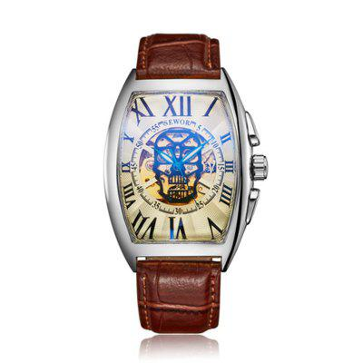 Mens Skull Mechanical Watch Automatic Watch Watch Fashion Mens Leather Bracelet