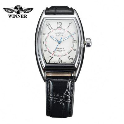 New WINNER Automatic Mechanical Watches Oval Dial Black Leather Strap AUTO Wind Male Date Mens Wristwatch