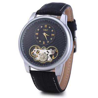 Automatic Tourbillon Watch With Black Genuine Leather Strap For Men Dual Movement Mechanical Watch