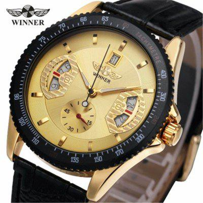 WINNER New Fashion Business Automatic Self-winding Hollow Color Leather Strap Mechanical Watch