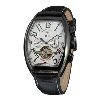 Forsining Mens Brand Square Dial Leather Strap Luxury Automatic Mechanical Watch