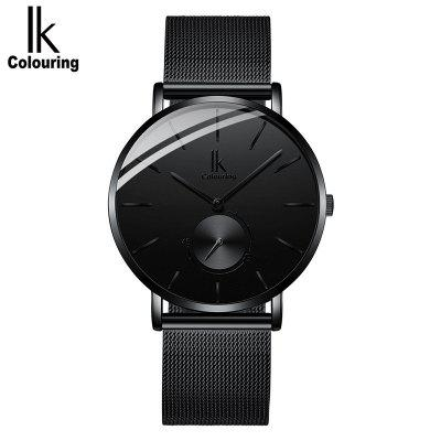IK mens mesh steel belt ultra-thin leather fashion quartz watch
