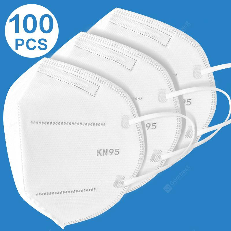 100 PCS KN95 Dustproof Antifog and Breathable Face Masks Filtration Mouth Masks All Age Non-medical