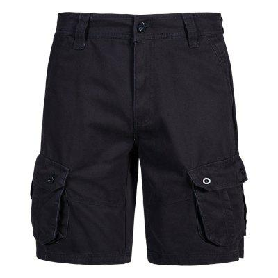 Men Summer Solid Color Straight Multi-pocket Tooling Shorts  YK056
