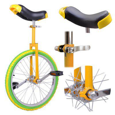 20in Wheel Unicycle Chrome Colorized Wheel Uni-Cycle Skidproof Unicycle w Stand Cycling Yellow Green