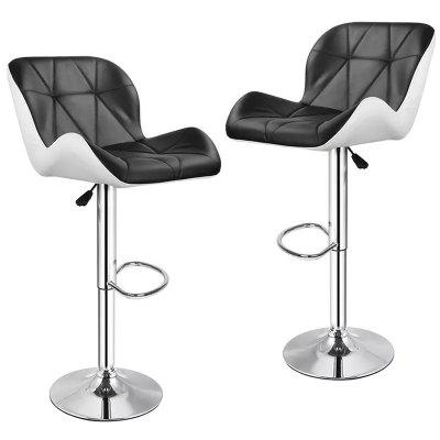 2Pcs/Set Bar Chair High Stool Leather Swivel Bar Stools Chairs Height Adjustable Pneumatic Pub Chair Home Office Kitchen Chair