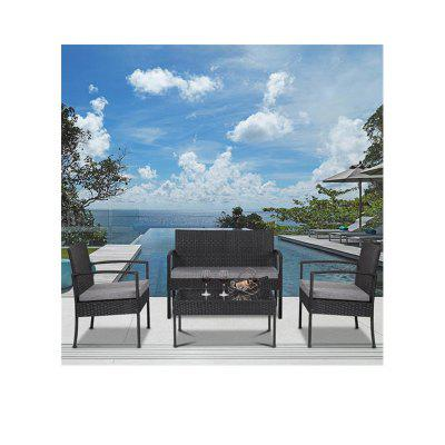 4 PCS Sofa Set with Table Sofa Cushioned Black Outdoor Patio Rattan Wicker Furniture Set Rattans Garden Chair Patio Set .