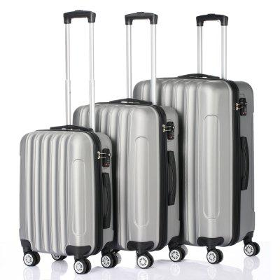 3 pcs 20 inch 24 inch 28 inch Suitcases Luggage Set Multifunctional Large Capacity Traveling Storage Suitcase Silver Gray