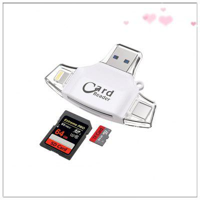 4 in1 Multifunctional TF SD Card OTG Phone Card Reader for IOS Android Type C