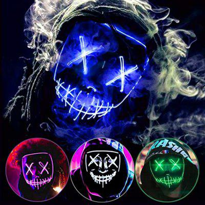 2pcs Party Halloween Purge Mask Light Up Scary EL Wire LED for Festival Gifts