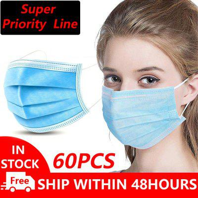 60PCS-Anti-Pollution Espirator Disposable Face Masks Non-medical 3 Layer Meltblown Filter Earloops