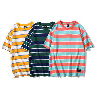 Original Summer New Striped Short Sleeve T-shirt Fashion Simple Loose Couple Pullover Base Coat
