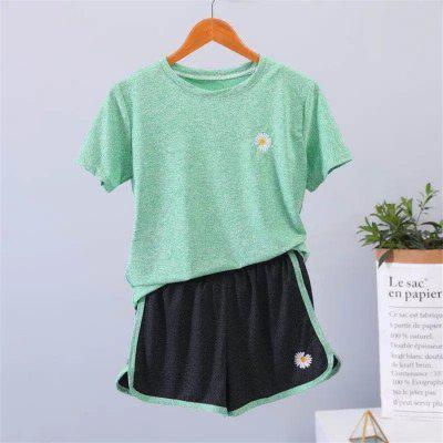 Womens Summer Tracksuit T-Shirt Two Piece Set Top and Pants Women Sport Wear Casual Suit Loose Shorts Tops Sport Set