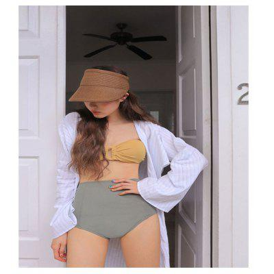 Summer New Korean Color Matching Fashion Tube Top Retro High Waist Belly Slimming Seaside Hot Spring Beach Split Swimsuit Women