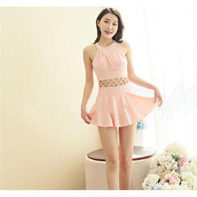 Female Conservative Hot Spring Small Chest Gathered One Piece Skirt Flat Angle Was Thin Sexy Leaky Back New Swimsuit
