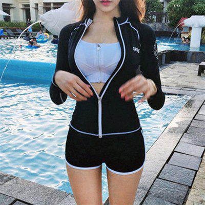 Korean Version of The New Female Diving Zipper Slim Boxer Pants Surfing Swimsuit Snorkeling Suit Three Piece