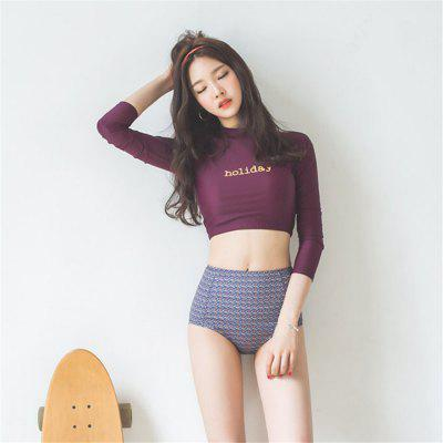 Long Sleeved Retro Diving Collar High Waist Cover Belly Slim Sexy Split Swimsuit Ladies