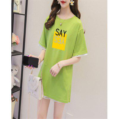 Long Tshirts Summer Women Loose Round Neck Tops Print Letter  Short sleeve Ladies Commuter