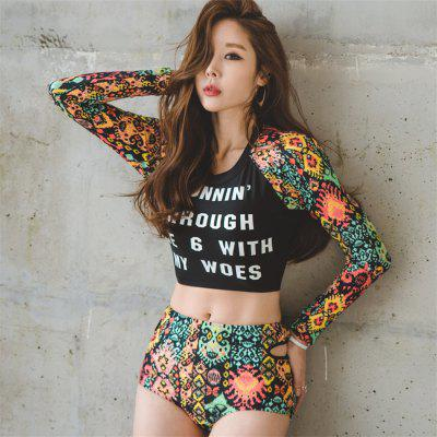 Female Letters Korean Three Piece Split High Waist Flat Angle Long Sleeve Jellyfish Diving Hot Spring Swimsuit